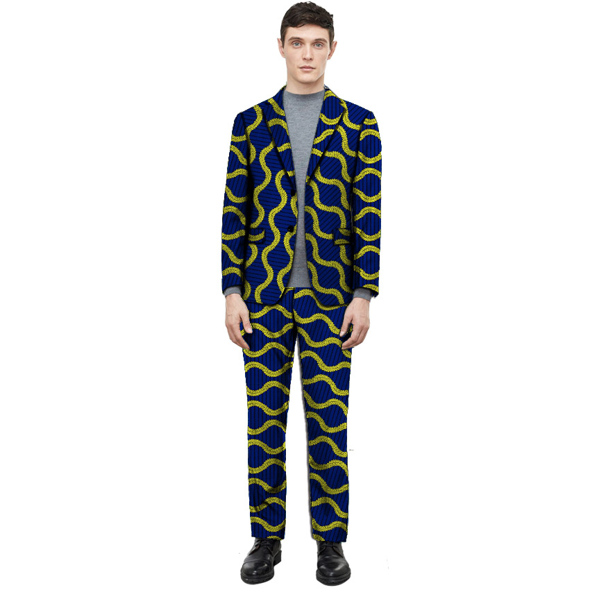 African Clothes Men Print Suit Blazers With Trousers Ankara Fashion Pant Suits Custom Made Wedding Man's Formal Outfits