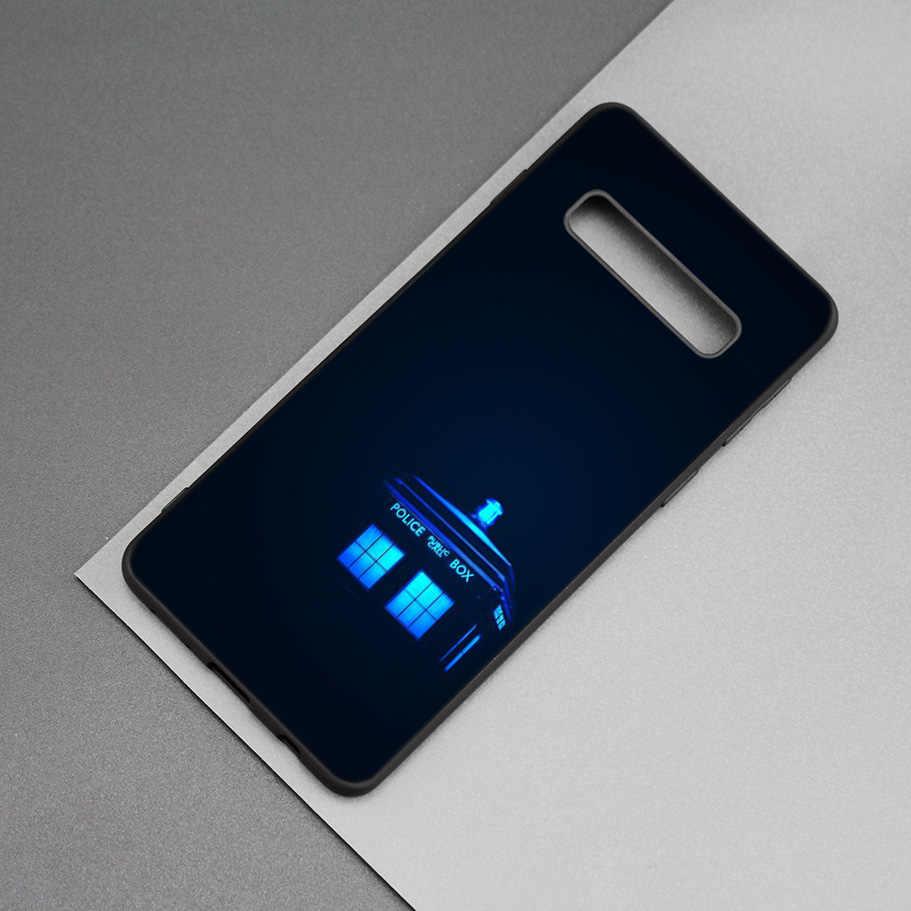 Who tardis Bác Sĩ Hộp Người Đen Silicone Trường Hợp đối Với Samsung Galaxy M20 S10e S10 S9 M10 S8 Cộng Với 5G S7 s6 Điện Thoại Cạnh Mềm Bìa Coque