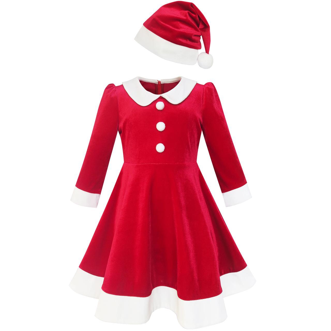 girls dress christmas hat red velvet long sleeve holiday