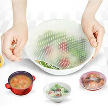 4pcs/lot Silicone Food Fresh Keeping Saran Wrap Kitchen Tools Multifunctional Reusable Food Wraps Seal Cover Stretch