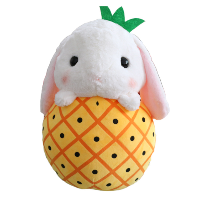 Kawaii Fruit Long Ear Rabbit Plush Toy Rabbit Baby Doll White Rabbit Lop Ear Rabbit Doll Birthday Gift Female Juguetes Brinqueos in Stuffed Plush Animals from Toys Hobbies