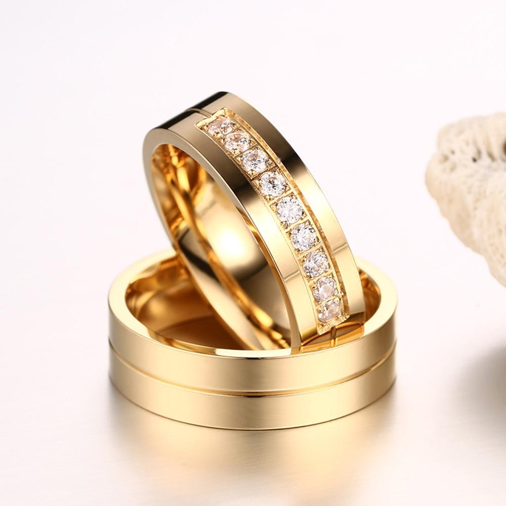 AAA + Cubic Zirconia Par Ring Guldfärg Ring för Kvinnor Man - Märkessmycken - Foto 3