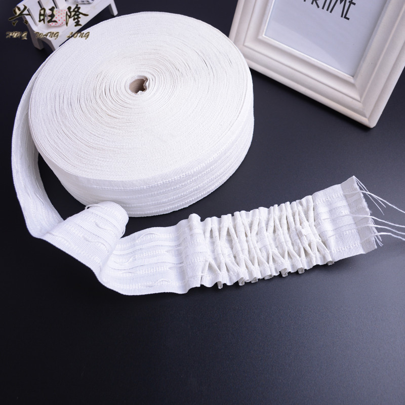 XWL 50M lot White 4 Gathering Cords Curtain Pull Pleated Tape Ribbon Curtain Accessories Strap Hanging