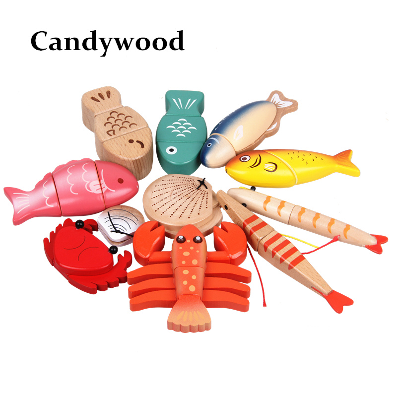 Kids Kitchen Toys Magnetic Wood Sea Animal Food Toys Simulation Fish Lobster Shell Wooden Toy For Children