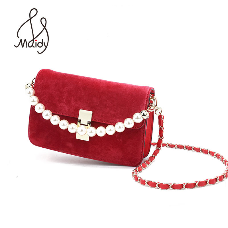 Maidy Lady Women Soft Fashionable Velvet Velour Flap Shoulder Crossbody Handbag Lock Chains Beading Pearl Strap Messenger Bags