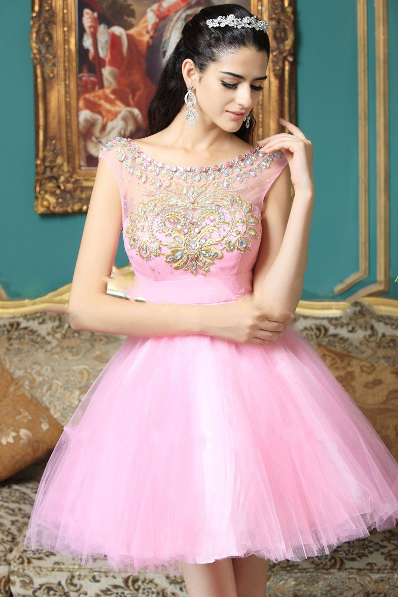 Excelente Prom Vestidos Cortos De Color Rosa Ornamento - Colección ...