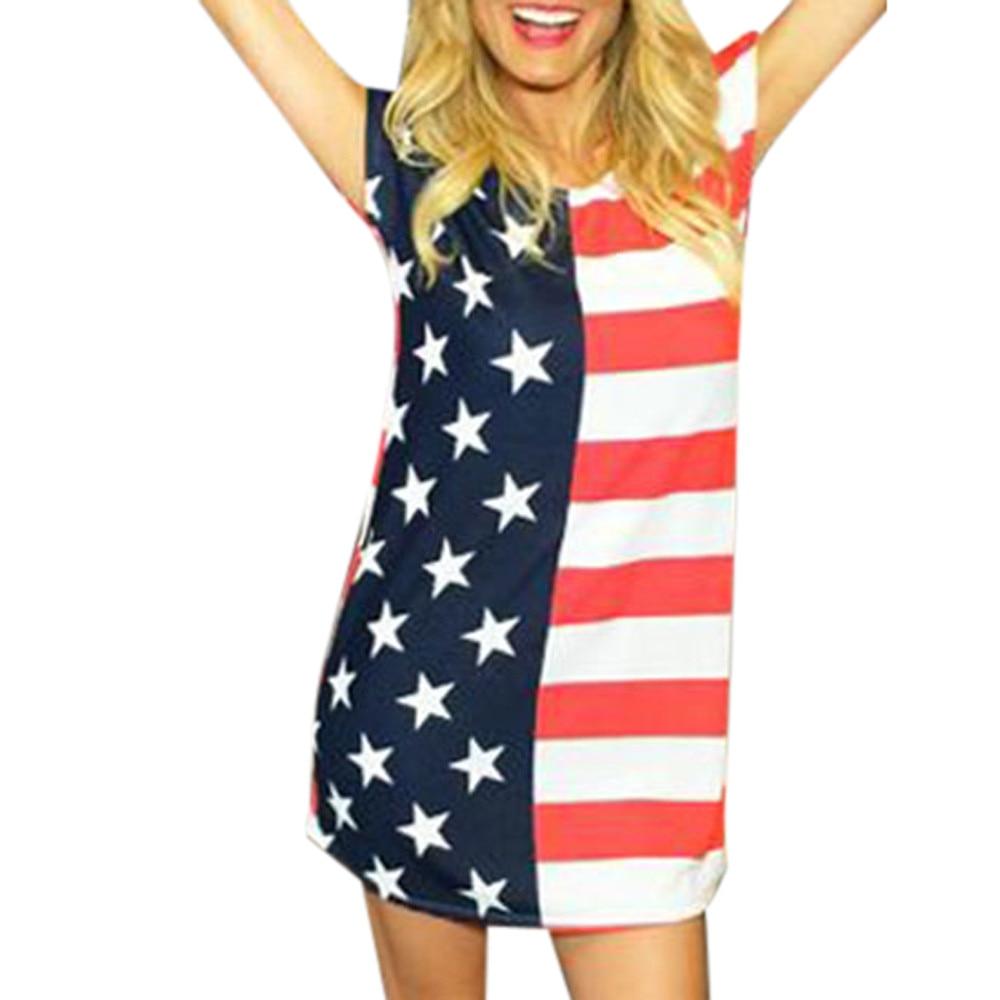 MUQGEW Independence Day female Women Print USA American Flag Sexy Short Sleeve Mini Dress ladies Straight Mini dress