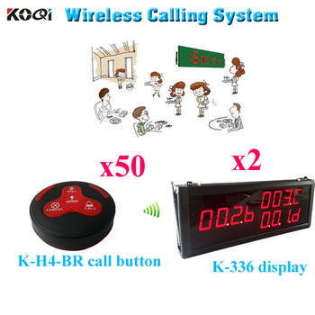 Peon Calling Bell System 100% Original And Brand New Wireless Restaurant Bell Equipment(2pcs display+50pcs call button)