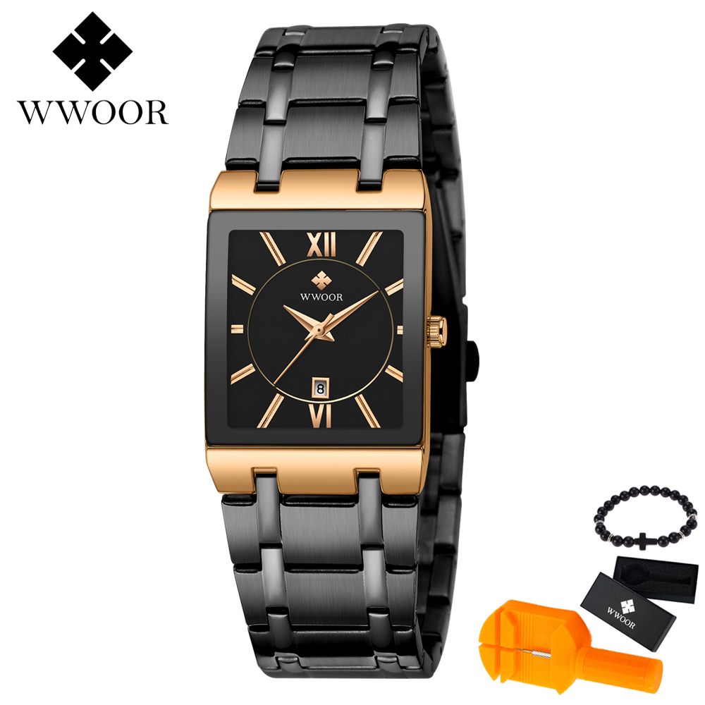 WWOOR Ultra Thin Creative Black Stainless Steel Quartz Watches Men Simple Fashion Business Japan Wristwatch Clock Male Relogios