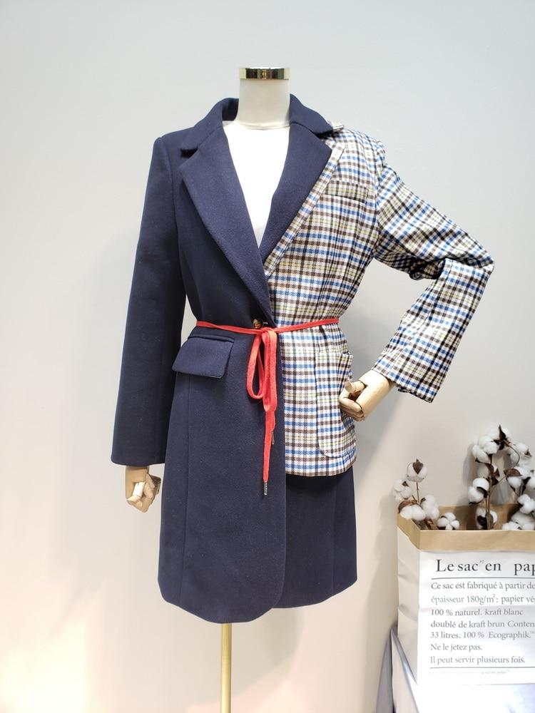 Laine Manteau De Irrégulière 2019 Correspondant Pardessus Plaid Couture Femme Getsring Black Faux Couleur Deux Femelle Nouveau Asymétrie vgzwHdHnq
