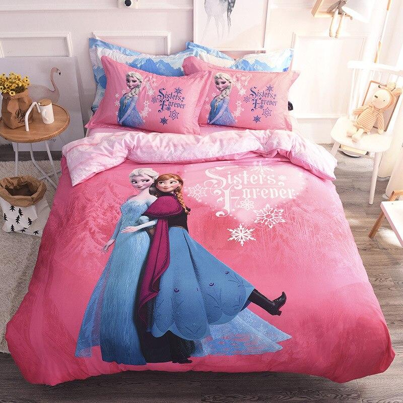 1,5 M/1,8 M Bett Disney Echte Baumwolle Bettwäsche-sets Mickey Cartoon Baumwolle Gefrorene Prinzessin Gebürstet Vier-stück Set
