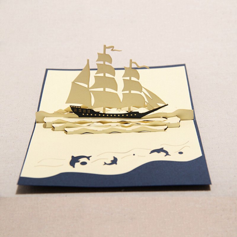 10 pieces/lot)Sailboat Designs Lovely Handmade Paper 3D Greeting ...