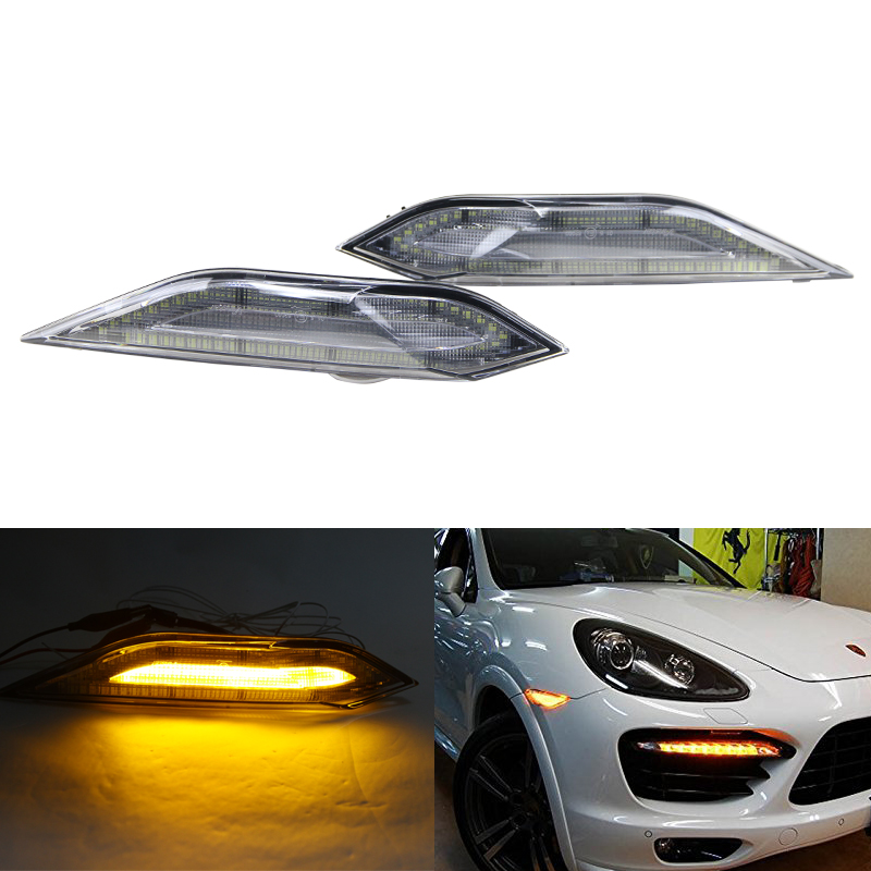 Switchback Clear Lens Led Side Marker Amber Turn Signal Lights W/ White Driving Running Lights For Porsche Cayenne 11-14 1pair led side maker lights for jeeep wrangler amber front fender flares parking turn lamp bulb indicator lens