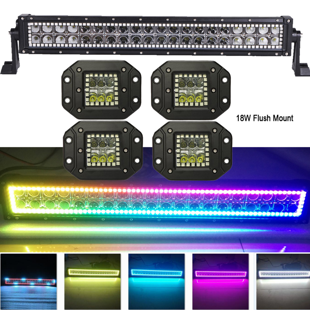 120W 22 LED Light Bar w/ RGB Halo Ring MultiColor Changing lots Chasing+4pcs 18W Flush Mount Pods Offroad Remote Control ATV mini 300w 12v 24v high quality low price horizontal wind turbine china