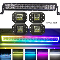 120W 22 LED Light Bar w/ RGB Halo Ring MultiColor Changing lots Chasing+4pcs 18W Flush Mount Pods Offroad Remote Control ATV
