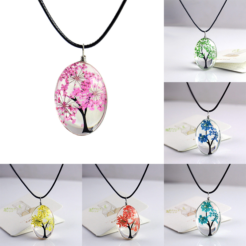 Pretty Handmade Plants Women Jewelry The Necklace Fashion Creative Necklaces Oval