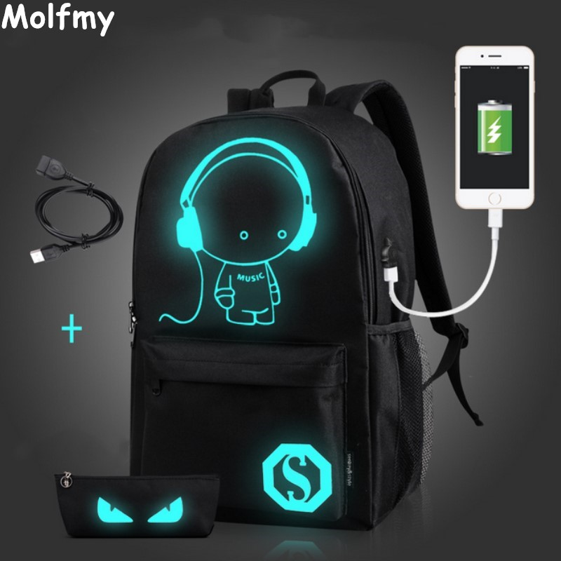 New Design Men Gym Sports Bag Night Glow Bag WomenUSB backpacks Light Sport backpack cartoon Backpack outdoor women School Bag 2016 new sports men and women backpacks fashion men s backpack unsix men shoulder bag brand design ladies school backpack