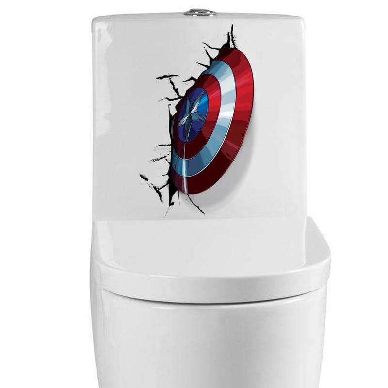 Винил 3D Капитан Америка щит настенный Стикеры разбит на стены Туалет Ванная комната Home Decor Наклейка плакат фон Стикеры s