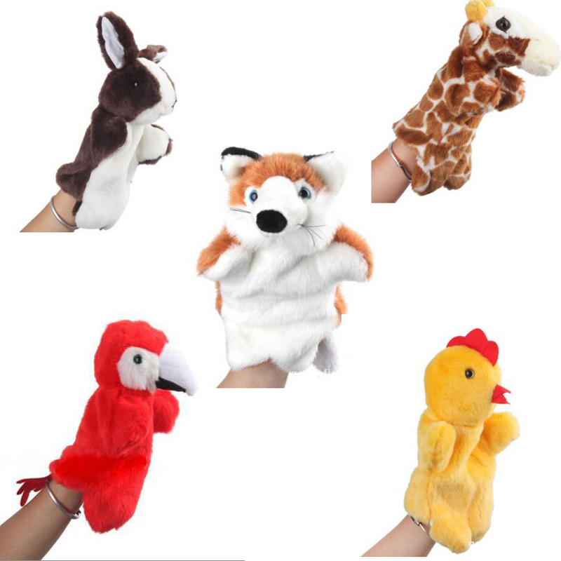 Animal Hand Muppet Plush Toys For Babies Adult Big Hand Finger Puppet Plush Doll Toy Marioneta De Mano Frog Shark Fox Eagle Doll