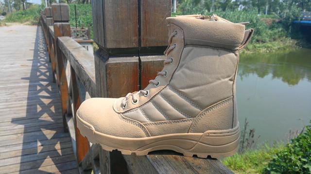 2016 Nova Militar Botas Táticas Deserto botas de Combate Do Exército de Viagem Sapatos Botas Homens Botas de Couro do Inverno do Tornozelo Plus Size 37-46