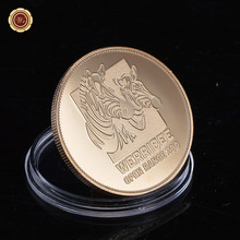 WR 24K Gold Plated Collectible Lion Souvenir Coins 2016 New Year Gifts Military Antique Coin Boy Man Birthday Gift