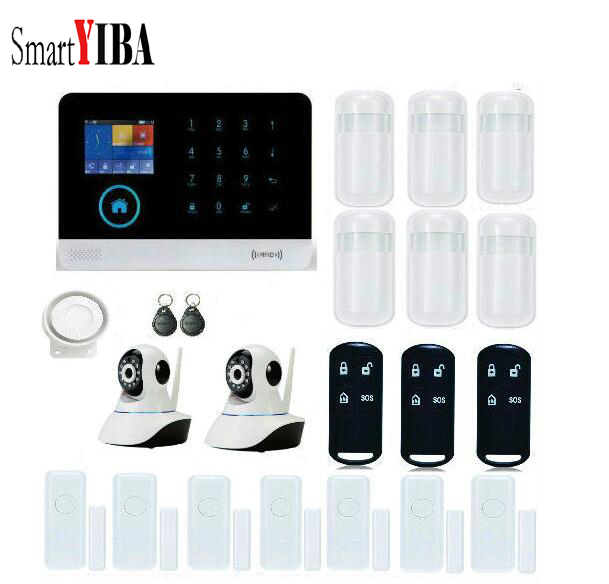 SmartYIBA Value Pack!Touch Panel WIFI GSM GPRS Wireless Wired Home Intruder Alarm Security System SMS Call Remote ControlSetting dhl ems free shipping 2 4g wifi gsm gprs sms wireless home house security intruder alarm system wireless flash siren