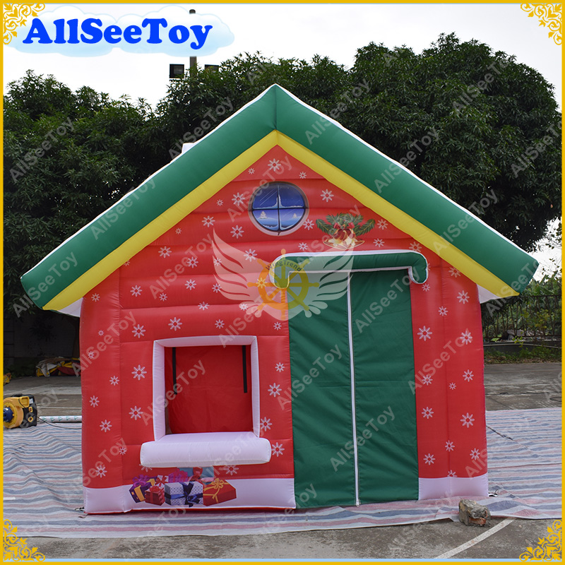 Inflatable Santa House for Christmas Holiday, Christmas Village Houses Inflatable Christmas Outdoor Decoration christmas santa house face number watch page 5