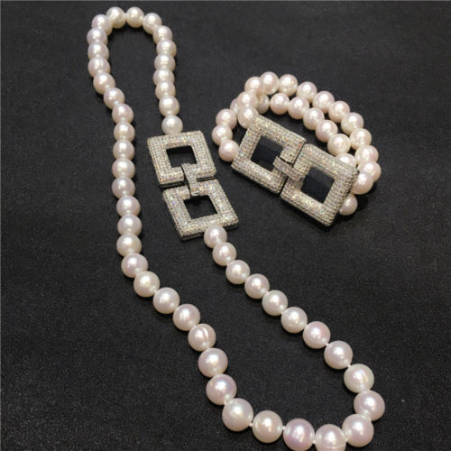 Beautiful New natural 9-10mm south seas white pearl necklace bracelet цена