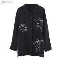 Qlychee Spring Elegant Women Harajuku Style Shirt Face Print Irregular Shirt Long Sleeve Loose Casual Top