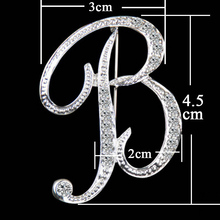Initial Letter Crystal Womens Brooch