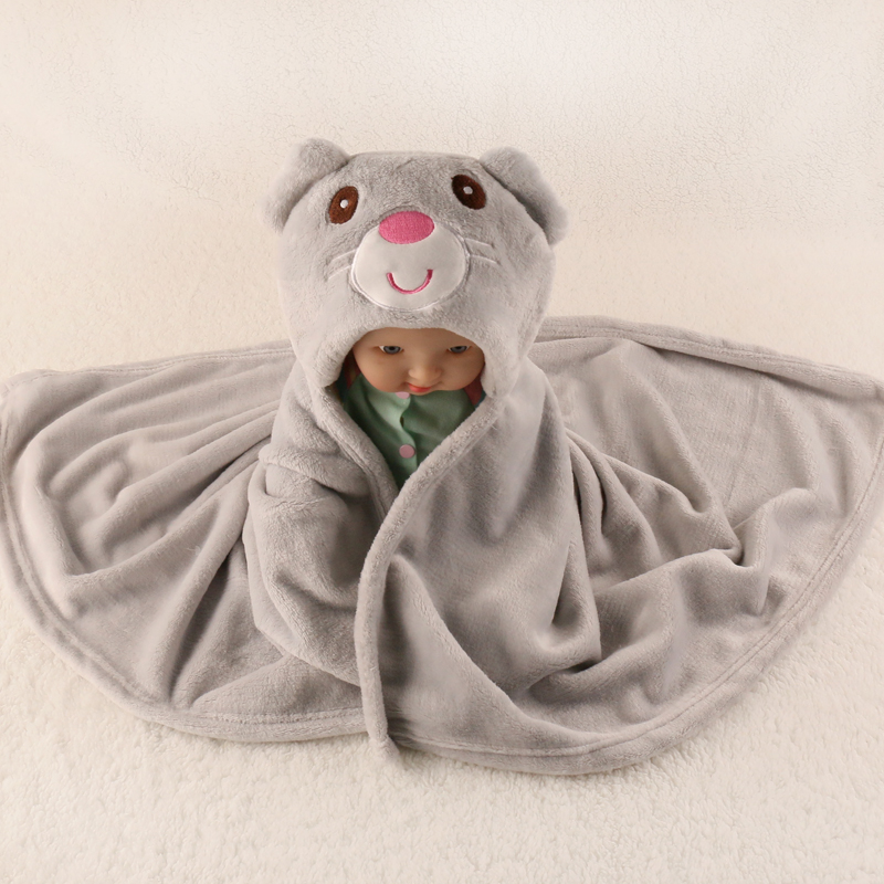 Free Shipping 76*92cm Hooded animal baby <font><b>blanket</b></font> newborn / baby bath towel /baby bathrobe cloak lovely soft sleeping <font><b>blanket</b></font>