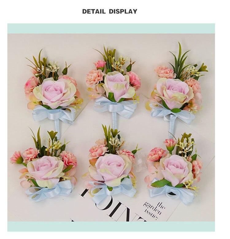 bridesmaid bracelet wedding corsage flowers roses artificial  (10)