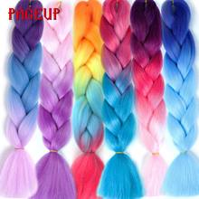 Pageup Pre Stretched Ombre Braiding Hair Extension Synthetic Hair Crochet Pink Afro Jumbo Braid Hair Extensions vogue twisted rope braid silver ombre white long synthetic hair extension for women
