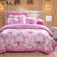 2019 Rose Pink Floral Garden Bedlinens Queen King Size Flat Sheet Embroidery Duvet Cover Set Silk Cotton Bedding Set