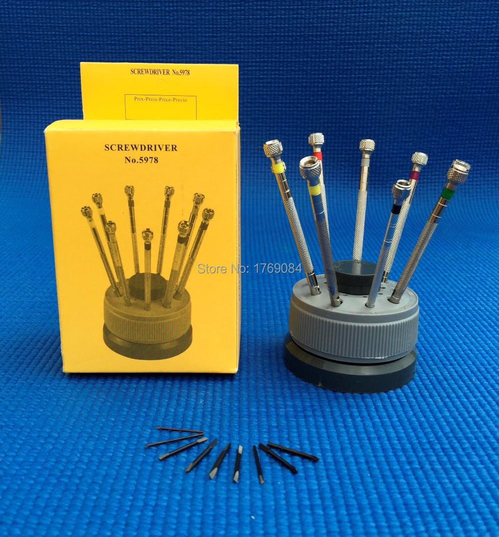 Swiveling Stand with Angled 9 Pcs Watch and Eyeglasses Repairing Screwdriver Set FLAT Blade with Extra Tips Watchmaker's Tool