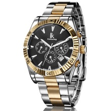 IK Men 6 Hands Vintage Classic Gold Case Calendar Automatic Mechanical Stainless Steel Strap Watchband Wrist
