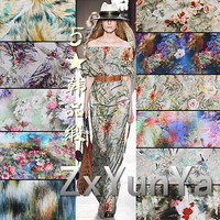 Five stars Korean satin cotton pajamas clothing fabric viscose printed spun rayon fabric for cloth dress