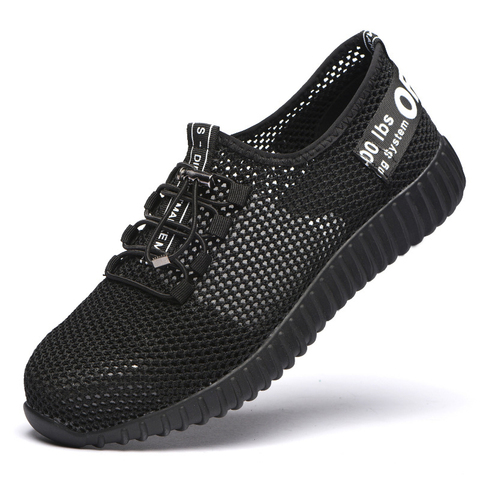 JUNSRM Men Safety Shoes Breathable Summer Boots women Anti-smashing steel toe caps Anti-piercing Mesh mens work Shoes 36-46 Lahore