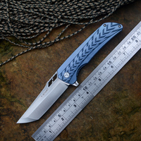 New Pocket Knife S35VN Blade Blue Titanium handle Y START LK5019 Hunting Outdoor Camping Knives with Nylon sheath