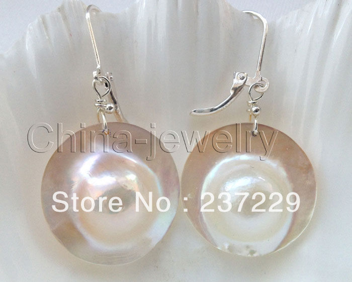 Wholesale price > ^^^^Beautiful AAA 23mm white blister Mabe pearl earring - 925 silver hook -Top quality free shipping free shipping high quality price reasonable beautiful clear acrylic podium pulpit lectern