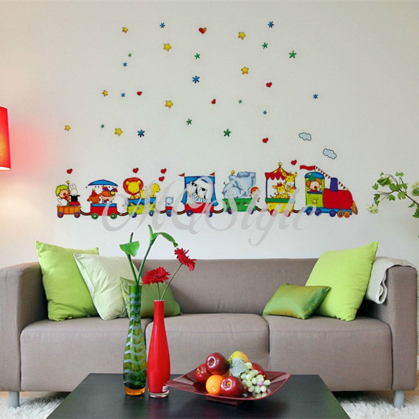 2017 Direct Selling Wall Stickers Home Decor Adesivos De Parede Animals Zoo Cars Train Wall Stickers Decor Kids Bedroom K4102