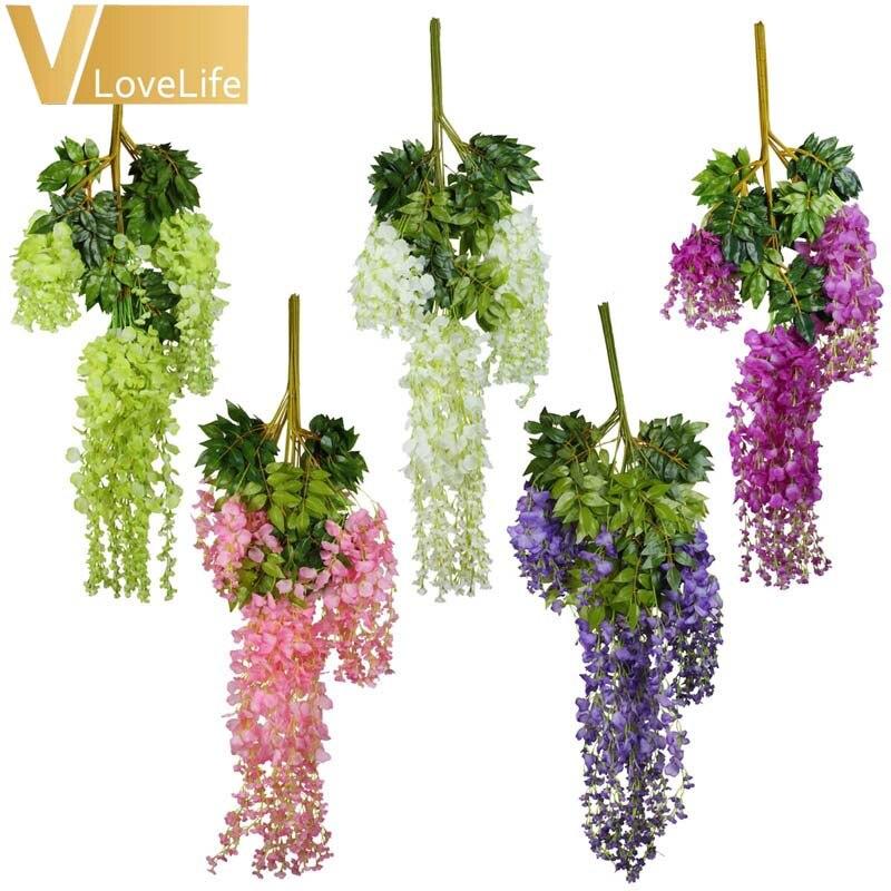 48 sztuk/partia sztuczne wiszące kwiaty jedwab Wisteria 105cm wiszące sztuczny kwiat na wesele Event Party dekoracja do przydomowego ogrodu w Sztuczne i zasuszone kwiaty od Dom i ogród na  Grupa 2