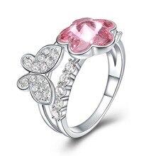 Fina smycken gjorda med Swarovski Crystal Butterfly Flower Ring Real S925 Sterling Silver för kvinnor och Girl Pink för bröllop