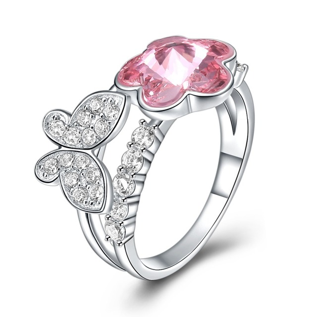82ab57acb Fine Jewelry Made with Swarovski Crystal Butterfly Flower Ring Real S925 Sterling  Silver for Women and Girl Pink for Wedding