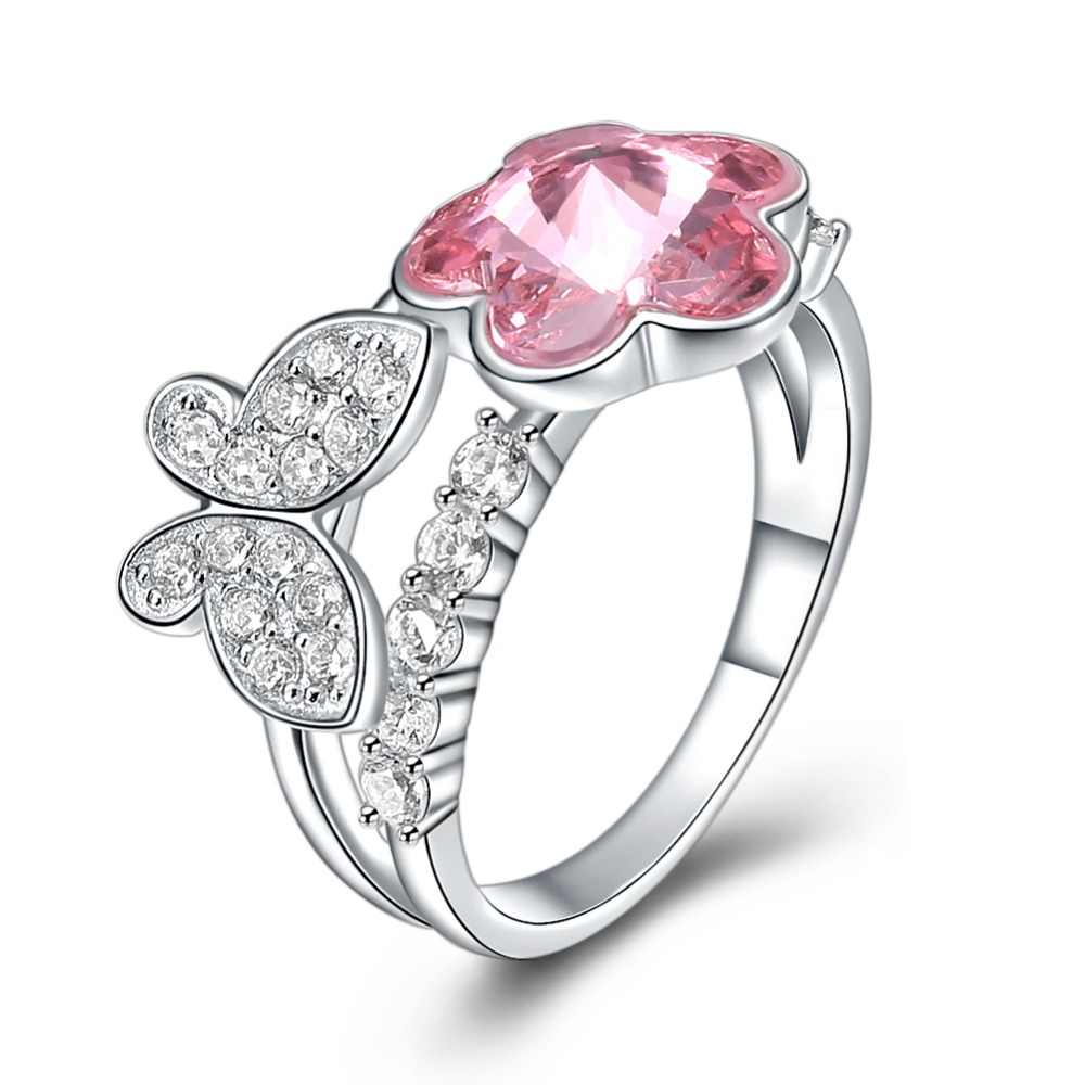 18cabf45b Fine Jewelry Made with Swarovski Crystal Butterfly Flower Ring Real S925  Sterling Silver for Women and