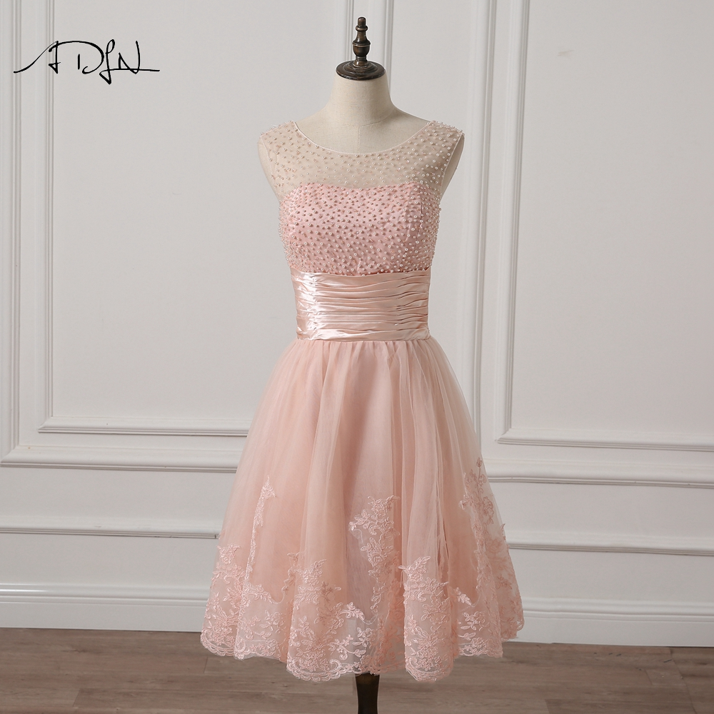 ADLN Scoop Pink   Cocktail     Dresses   with Pearls A-line Knee-length Little White   Dresses   Party Gown Short Champagne Formal   Dress