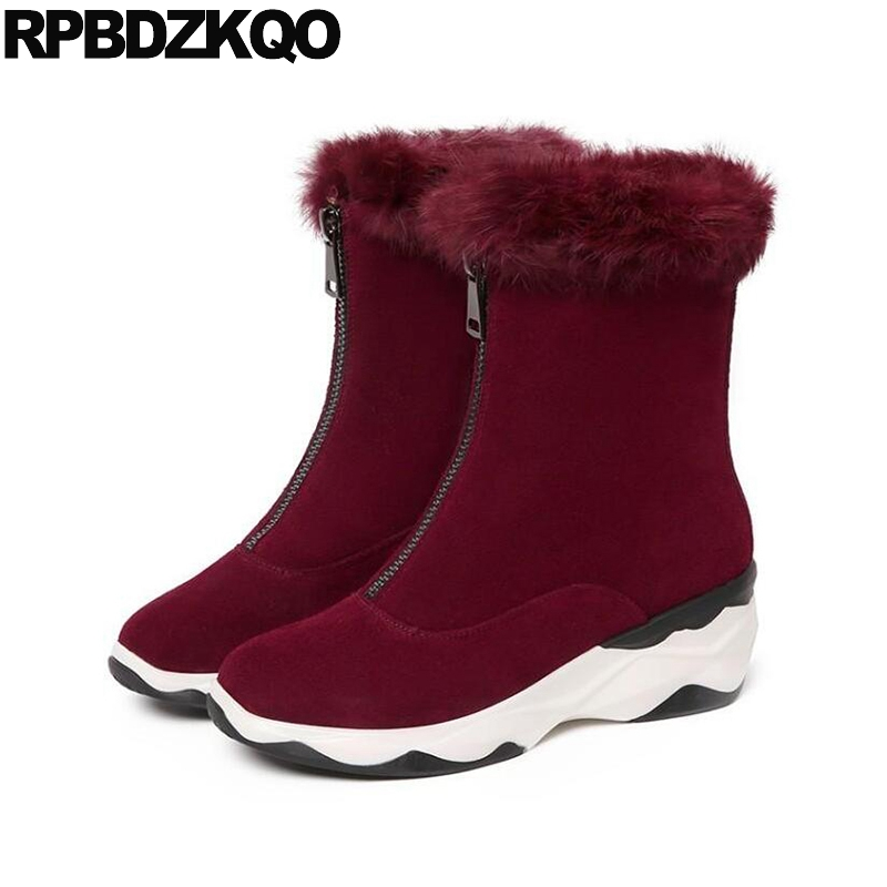 Women Boots Winter 2017 Zipper Shoes Suede High Quality Wine Red Ankle Platform Real Fur Flat Female Ladies New Chinese Fashion new autumn winter parent child women red fox fur hats warm knitted beanies real fur cap high quality kitting female fur hat