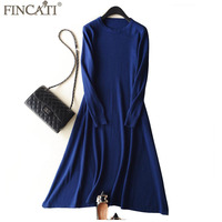 Knitted Long Dress Women 2018 Winter Spring Cashmere Wool Round Collar Big Swing A Line Casual Midi Sweater Dresses Vestidos