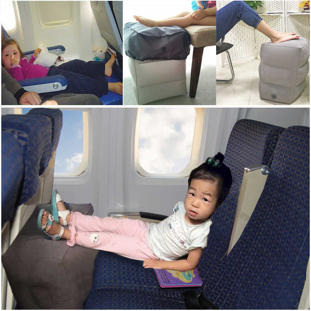 kids sleeping pillow on airplane bus car leg resting inflatable travel foot rest pillow pvc flocking travel footrest pillow
