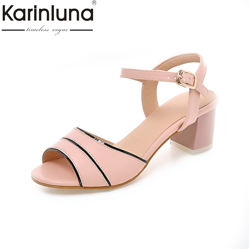 KARINLUNA New Arrivals Big Size 32-45 peep toe ankle strap women shoes leisure square med heels dating girls footwear sandals